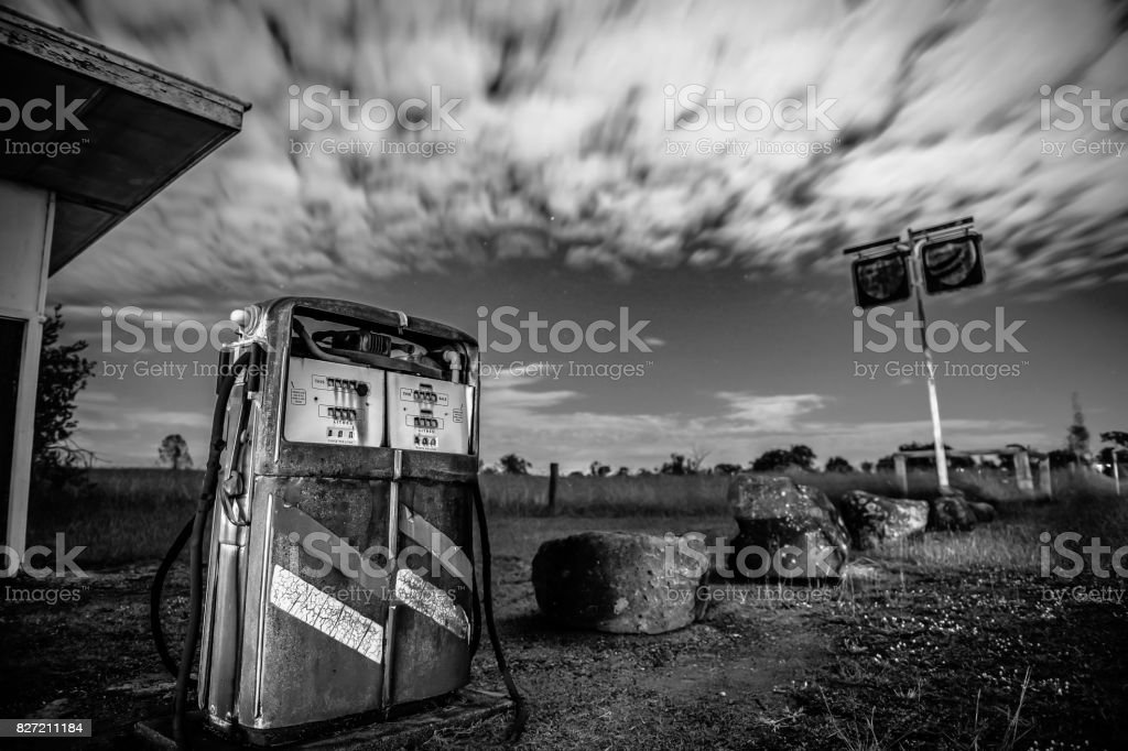 Old rustic pump in the countryside of Brisbane stock photo