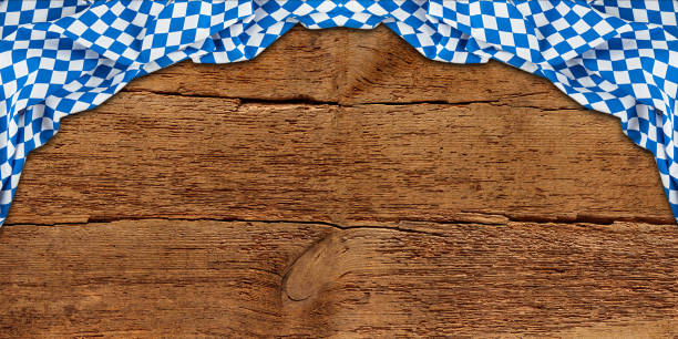 old rustic retro wood wooden texture with bavarian flag dark brown vintage weathered Oktoberfest background old rustic retro wood wooden texture with bavarian flag dark brown vintage weathered natural Oktoberfest panorama background oktoberfest stock pictures, royalty-free photos & images