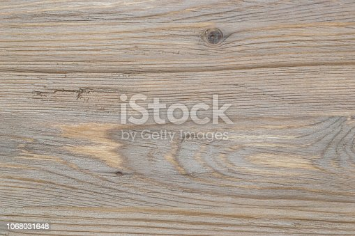 istock Old rustic scratch and damage grey wood texture close-up as background. 1068031648