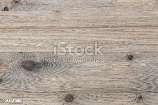 istock Old rustic scratch and damage grey wood texture close-up as background. 1068031660