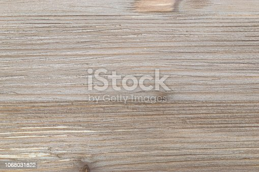 istock Old rustic scratch and damage grey wood texture close-up as background. 1068031822