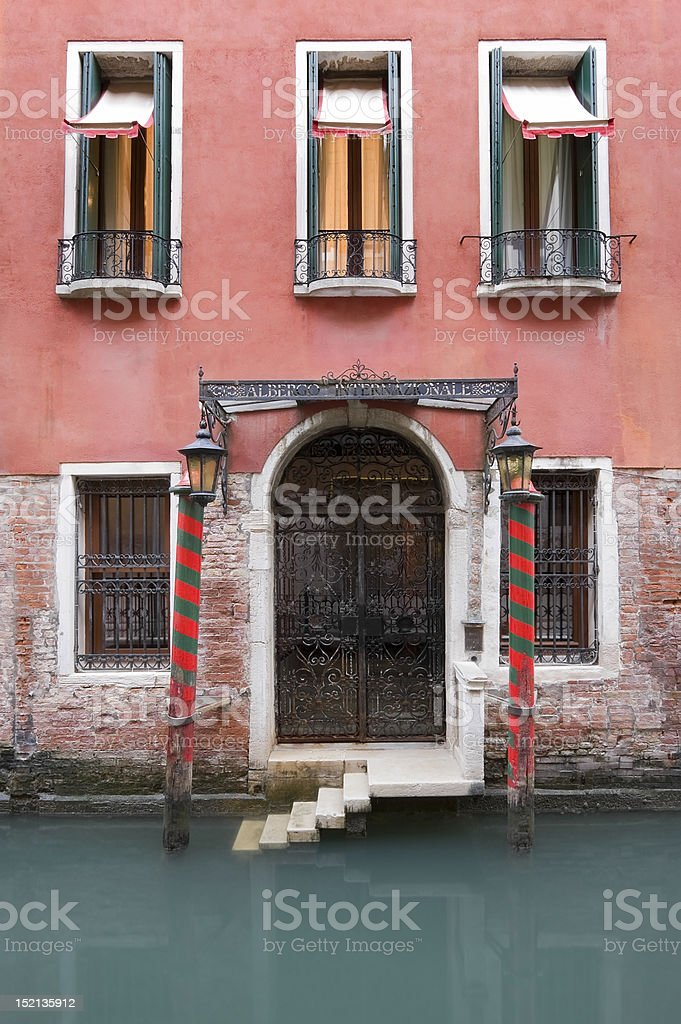 Old Rustic Venetian Hotel stock photo