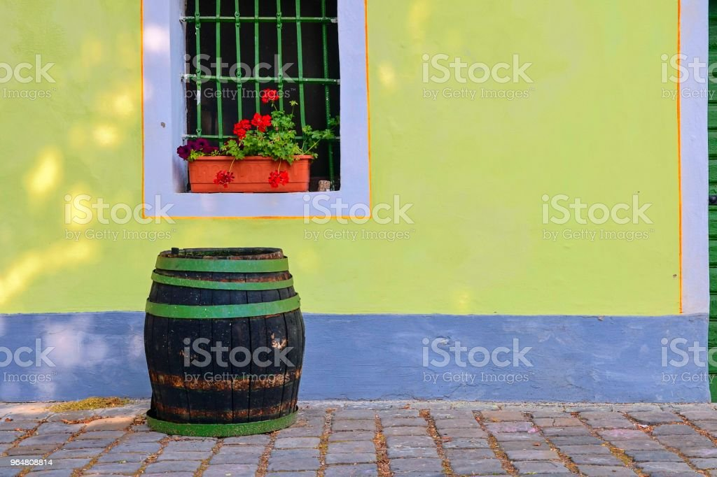 Old rustic wine barrel.. Wine background in Europe. Czech Republic, South Moravia. royalty-free stock photo