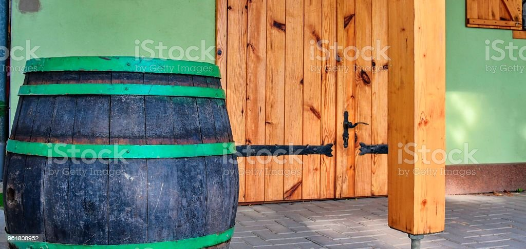 Old rustic wine barrel. Wine background in Europe. Czech Republic, South Moravia royalty-free stock photo