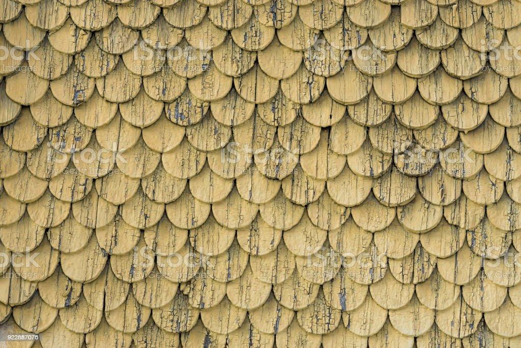 Alte Rustikale Holz Fliesen Dach Wand Textur Gelb Verwitterte