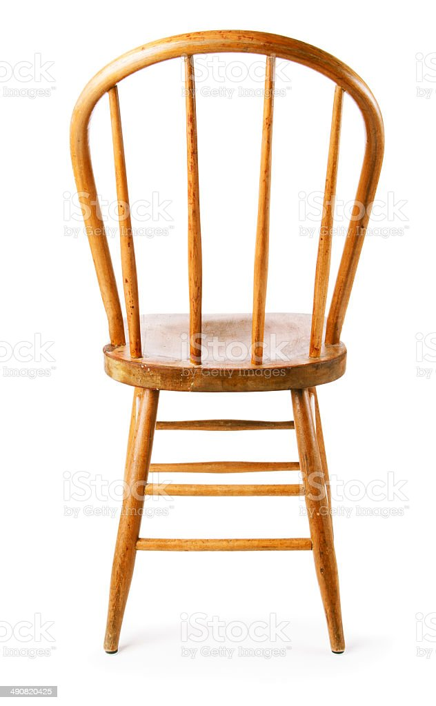 Old, Rustic Wooden Country Chair, Back View, White Background Royalty Free  Stock