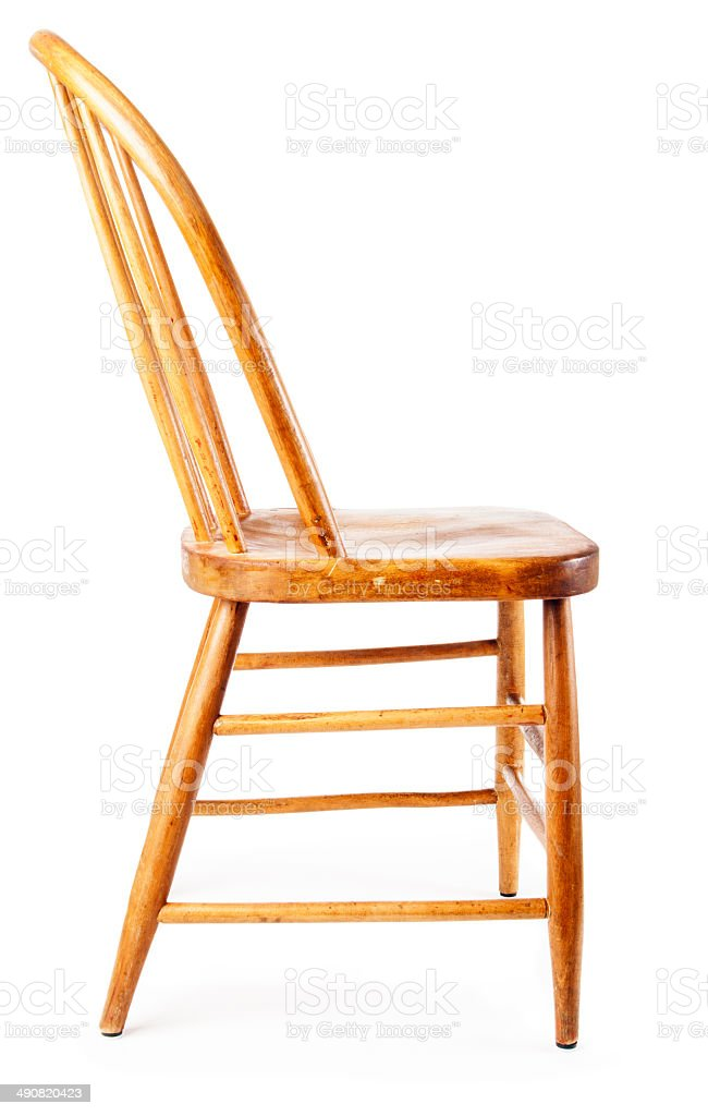 Old, Rustic Wooden Country Chair, Side View, White Background Royalty Free  Stock
