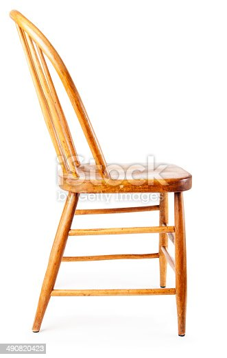 Old Rustic Wooden Country Chair Side View White Background ...