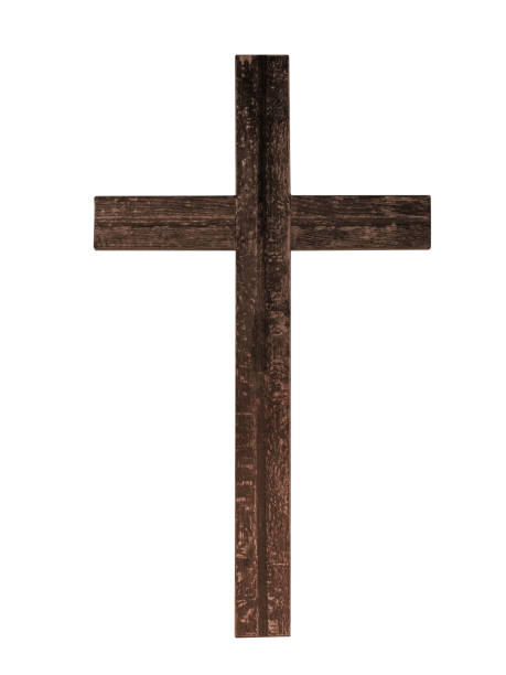 Old rustic wooden cross isolated on white background. Christian faith. Bit tattered. religious cross stock pictures, royalty-free photos & images