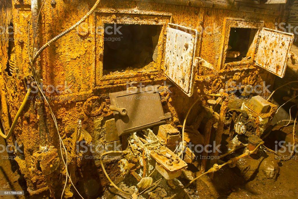 Old rusting boiler stock photo