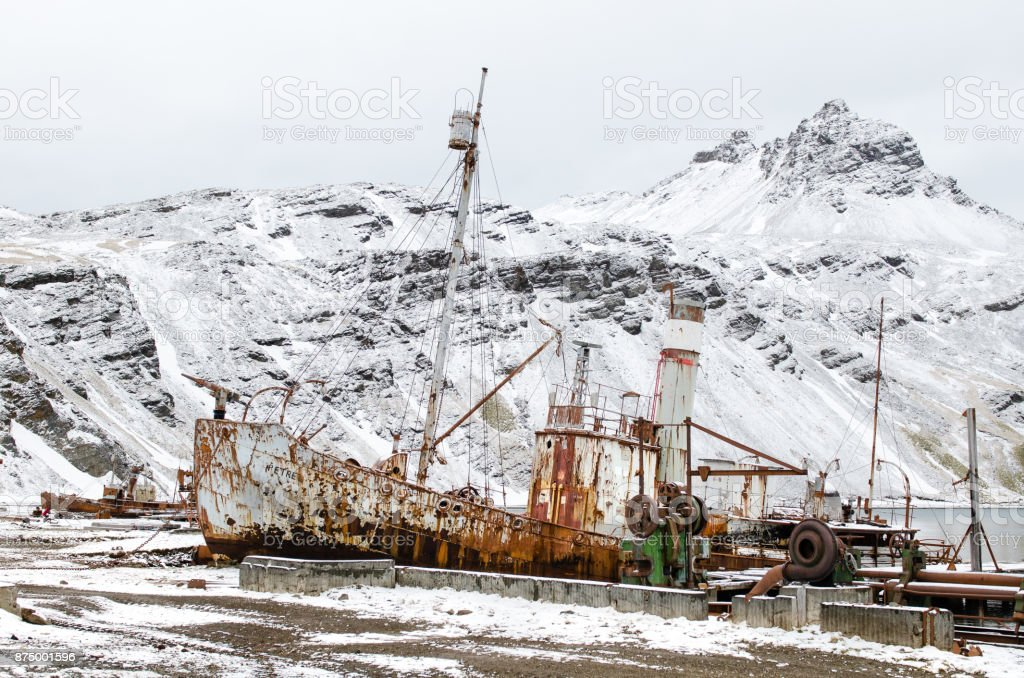 Old rusting whaling ship at Grytviken harbour,South Georgia stock photo