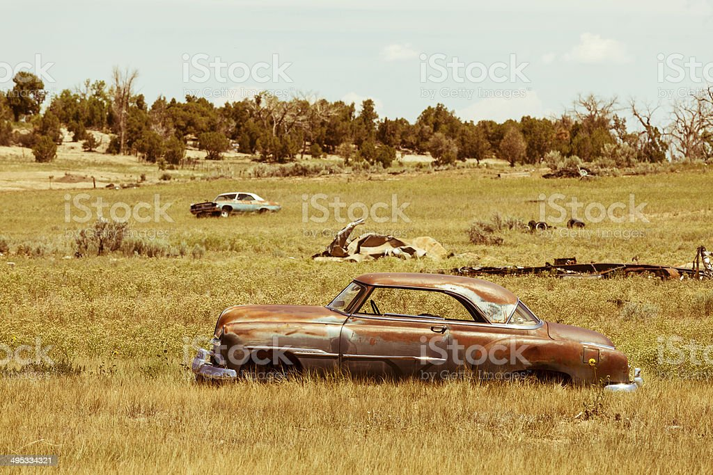Old Rusty Abandoned Cars In A Field Vintage Stock Photo & More ...