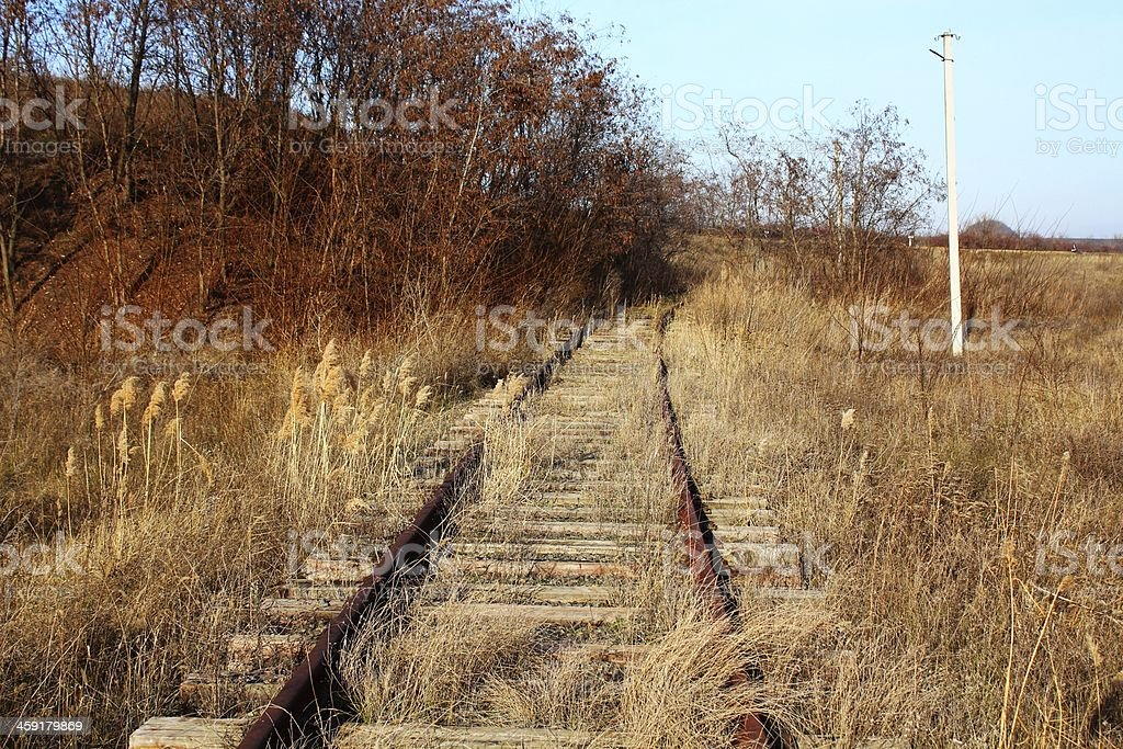 Old rusty abandoned rails and sleepers royalty-free stock photo