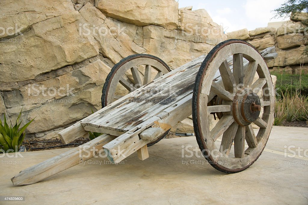 Old, rusty and superannuated chariot stock photo
