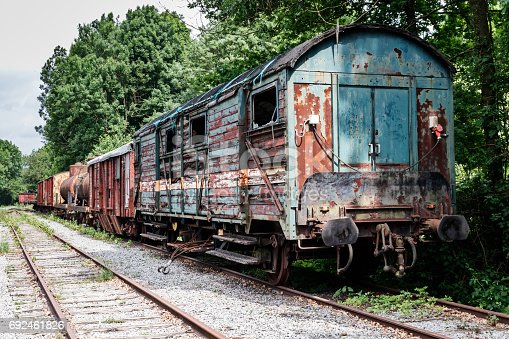 An old abandoned train station is waiting to rotten at a deserted station in Hombourg, Belgium