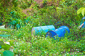 Old rusty barrel stands in bright grass against a background of greenery