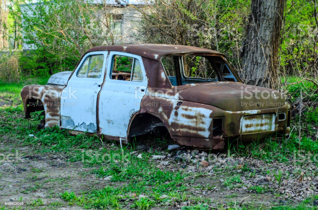 Old rusty car body stock photo