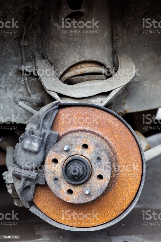 Old rusty car brakes. stock photo