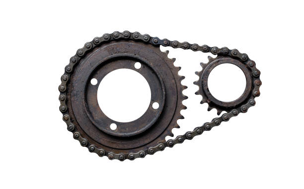 old rusty chain gear, small and large collars. isolated on a white background - chain object stock photos and pictures