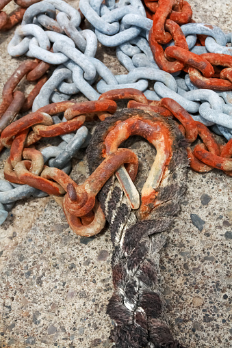 Old rusty chains and rope.