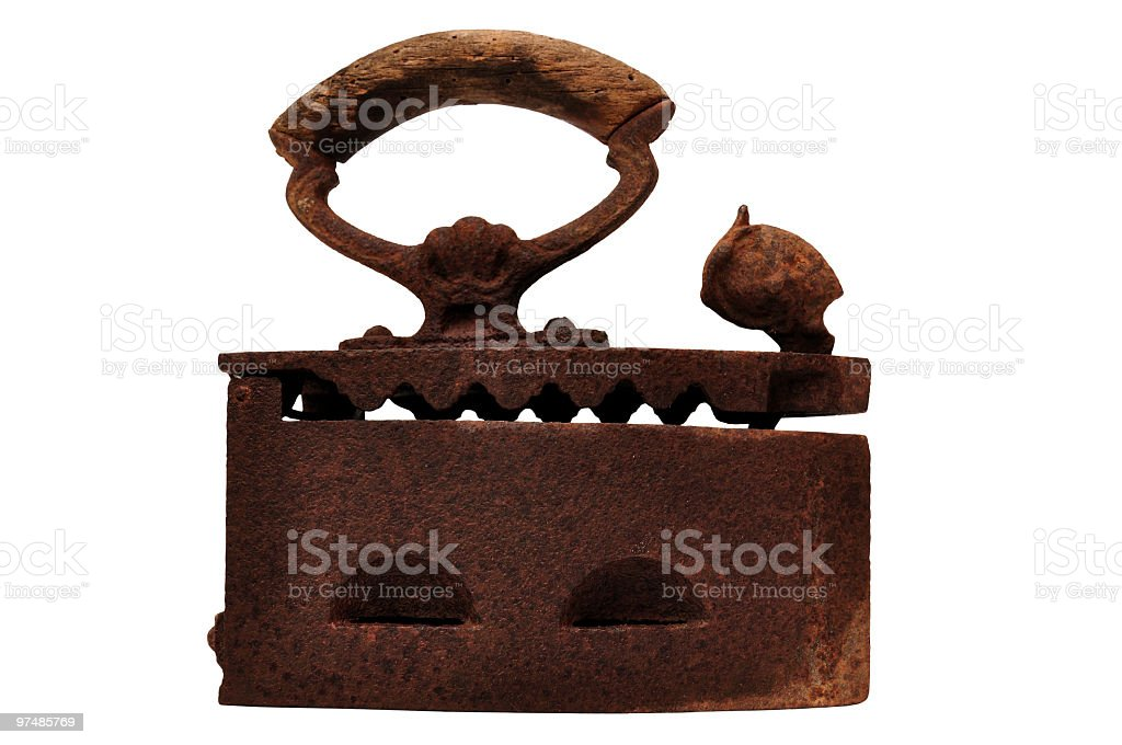 Old rusty charcoal iron isolated royalty-free stock photo