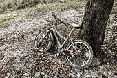 istock Old rusty child's bicycle by a tree 504129974