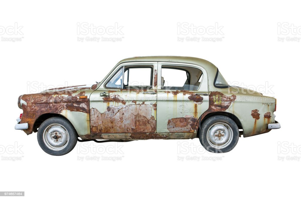 Old rusty classic car isolated on white background.Old rusty ancient car isolated stock photo