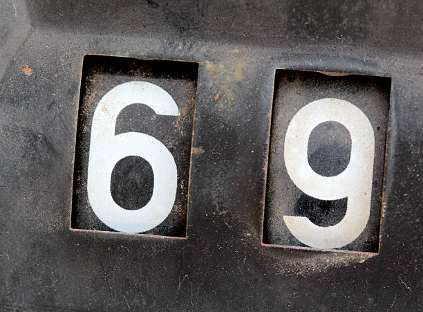 old rusty counter on sexy number 69 - number 69 stock photos and pictures