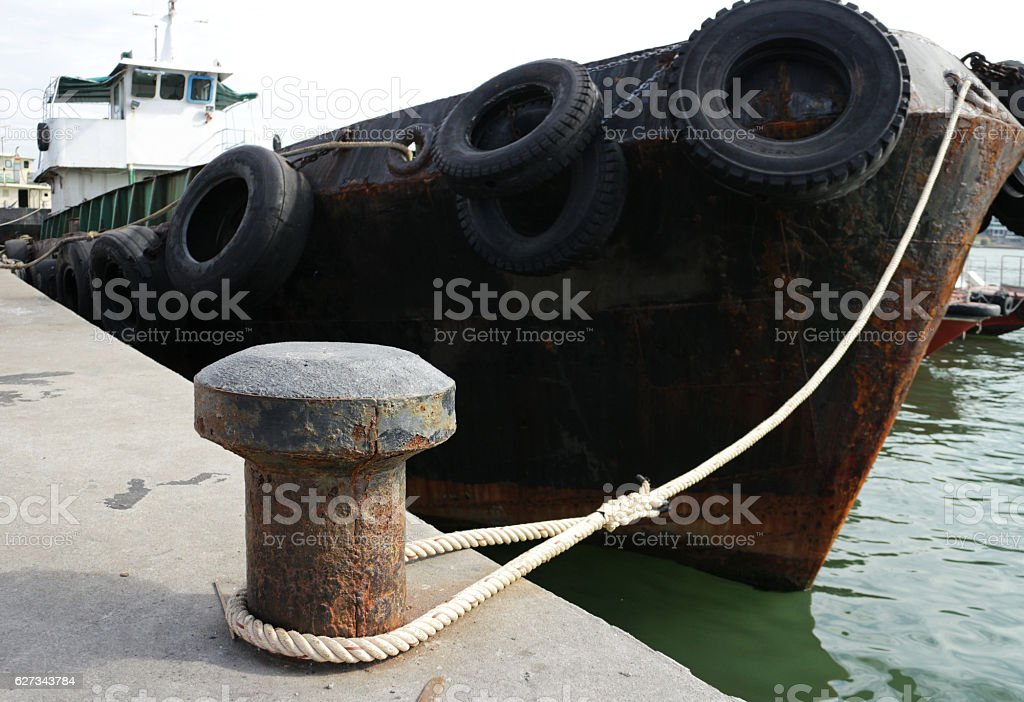 Old Rusty Dock Cleat stock photo