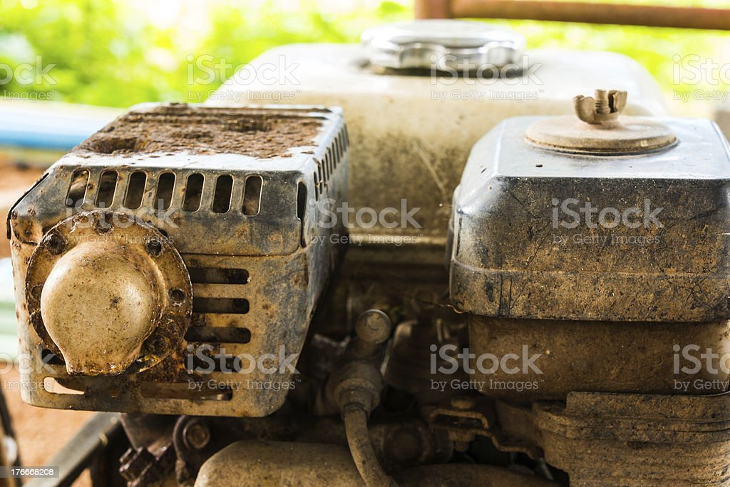 old rusty engine of lawnmower royalty-free stock photo