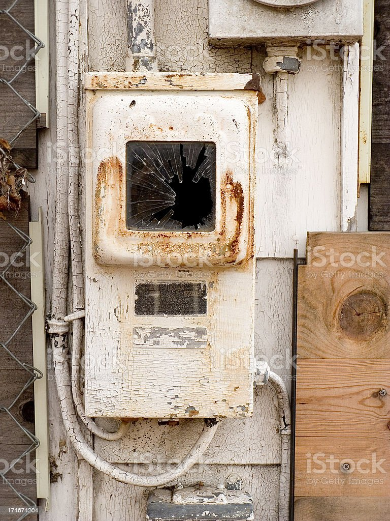 Old Rusty Fuse Box With Pealing Paint On Abandoned House Stock Photo on