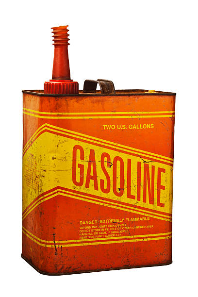 Old Rusty Grungy Metal Gasoline Can stock photo