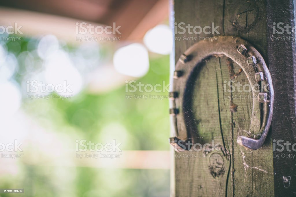Old rusty horseshoe hanging on a wooden background. stock photo