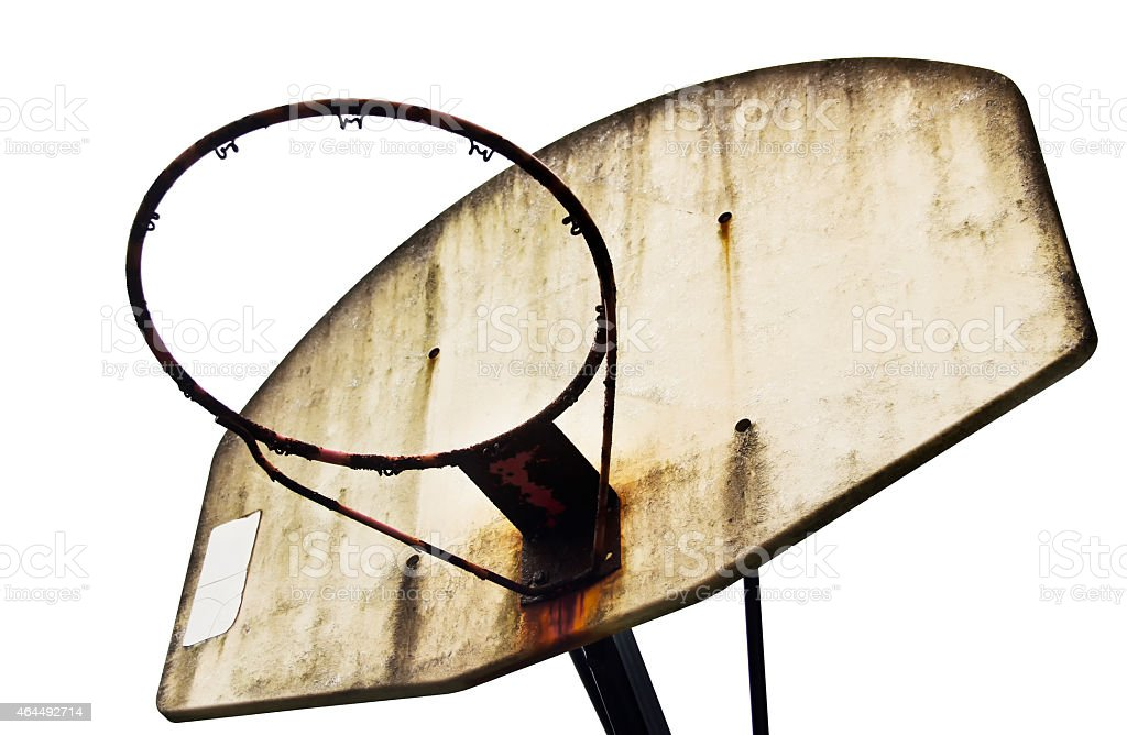 Old Rusty Isolated Basketball Hoop With No Net stock photo