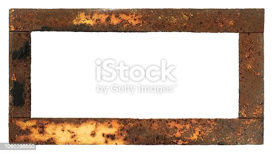 An old retro style welded metal frame with rusty deteriorated yellow and brown paint. This border is cut out with white background and blank in the middle for messages.