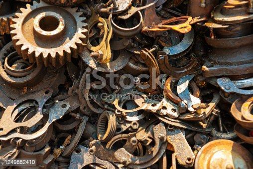 istock Old rusty metal scrap 1249882410