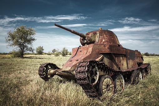 old rusty military tank
