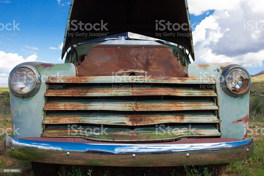 Old Rusty Pick Up Truck in the Desert stock photo