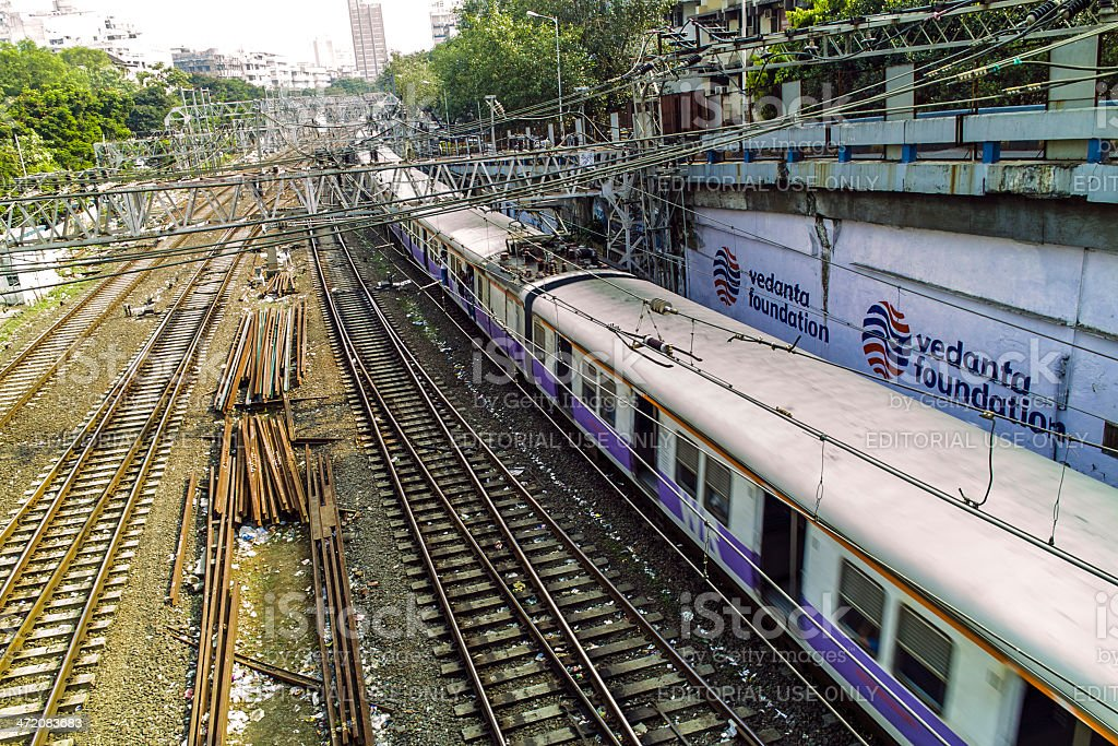 old rusty rails leading to Mumbai Central Station royalty-free stock photo