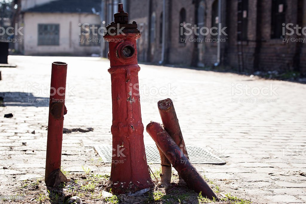 Old, rusty red fire hydrant stock photo