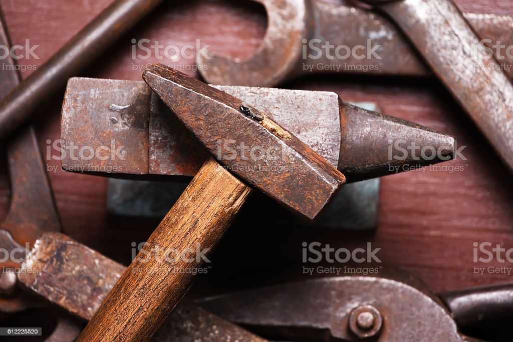 Old Rusty Rugged Anvil Hammer Other Blacksmith Tools Stock Photo