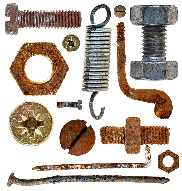 old rusty screw head nail hook spring stock photo
