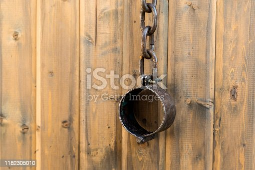 old rusty shackles closed rusty traditional handcuffs vertical wall design
