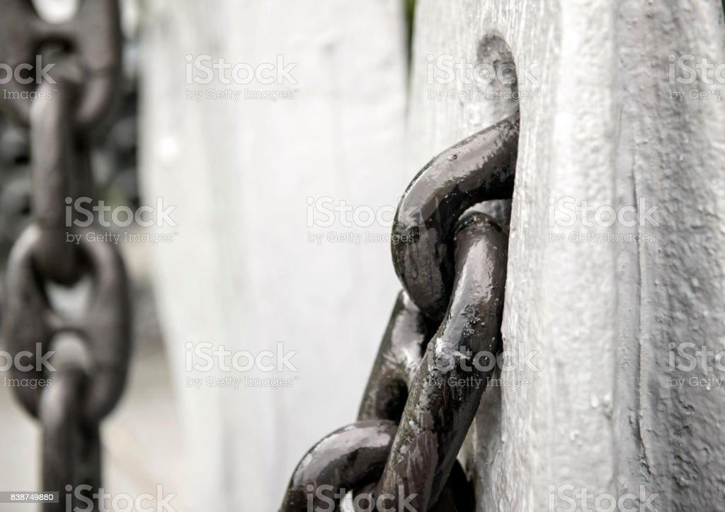 Old rusty ship chain stock photo