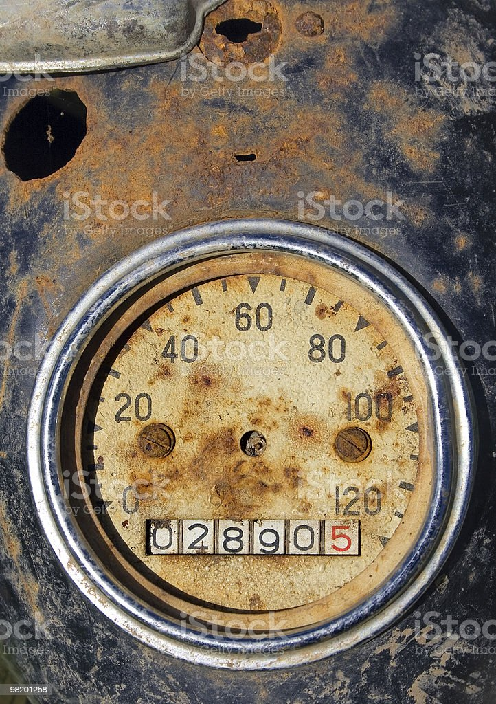 Old rusty speedometer royalty-free stock photo