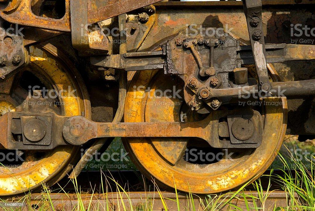 Old rusty steam train wheels royalty-free stock photo