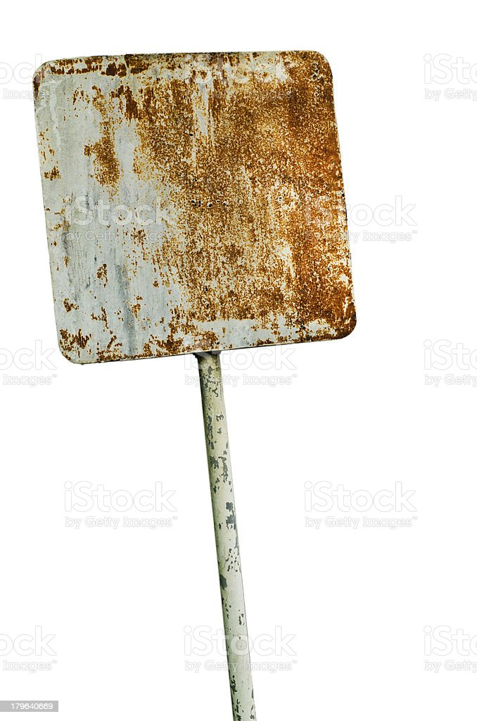 Old rusty steel sign stock photo
