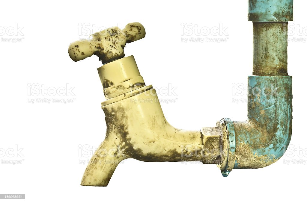 old rusty tap leaking water royalty-free stock photo