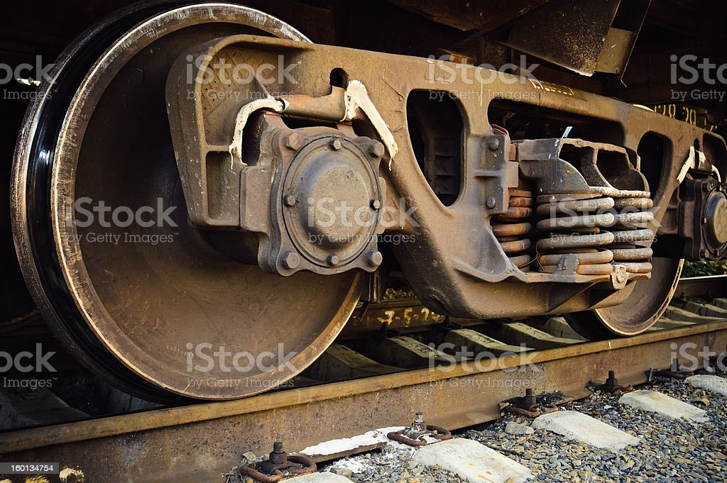 Old rusty train wheels royalty-free stock photo