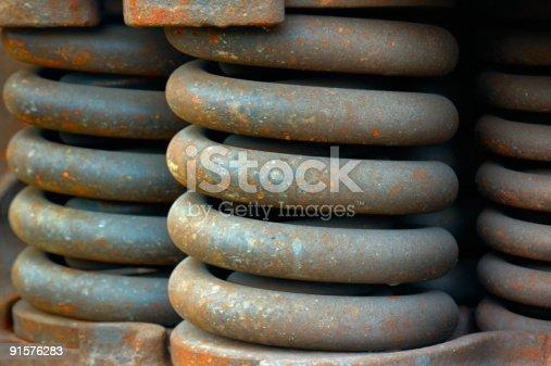 istock Old rusty wagon springs 91576283